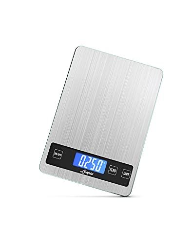 Liebfeld - Digitale Küchenwaage bis 15kg aus Edelstahl mit großer Wiegefläche + 2 Batterien I Haushaltswaage digital, Essenswaage (Edelstahl)