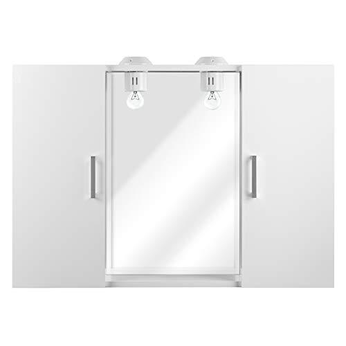 IdeaStella Specchiera Savannah - Specchio con Pensili (1 Anta SX + 1 Anta DX) + 2 Punti Luce. (Bianco Effetto Lucido)