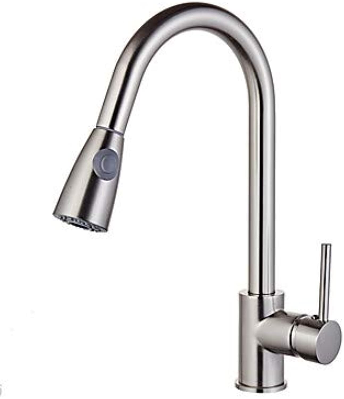 Mangeoo Kitchen Faucet Nickel Brushed Standard Spout Vessel Modern Contemporary Fashion Brass