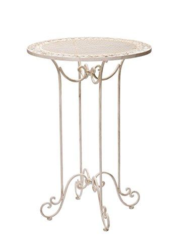 aubaho Table Haute pour Jardin - Fer forgé - Style Antique - Blanc - 101 cm