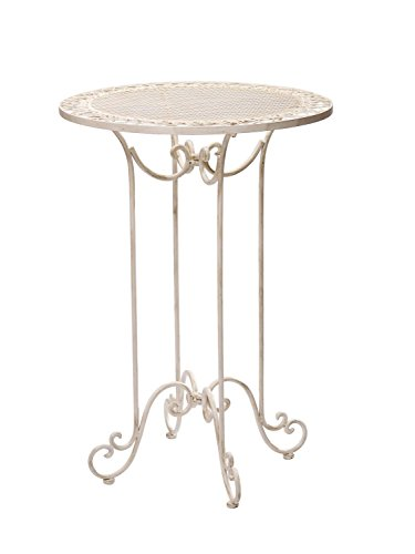 aubaho Stehtisch 101cm Eisen Gartentisch Bistrotisch antik Stil Creme weiß Iron Table