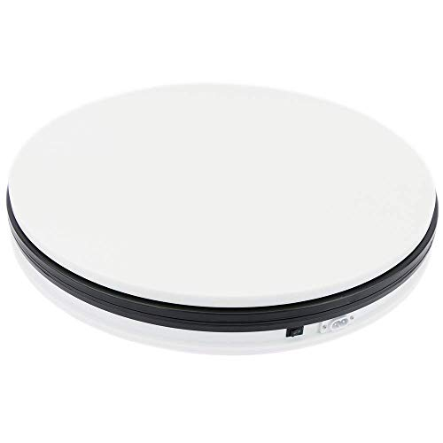PrimeMatik - Base giratoria eléctrica de 45 cm. Plataforma Rotatoria de Color Blanco