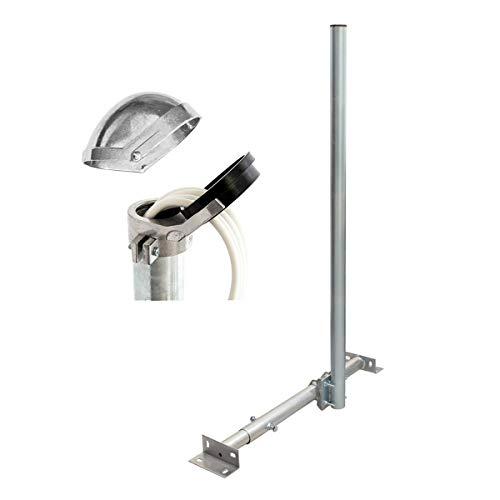 PremiumX Basic X120-48 SAT TV Teleskop-Dachsparrenhalter 120cm Mast 48mm Stahl Sparren-Halterung für Satelliten-Antenne Satellitenschüssel | ALU-Mastkappe Kabeleinführung 16 Kabel