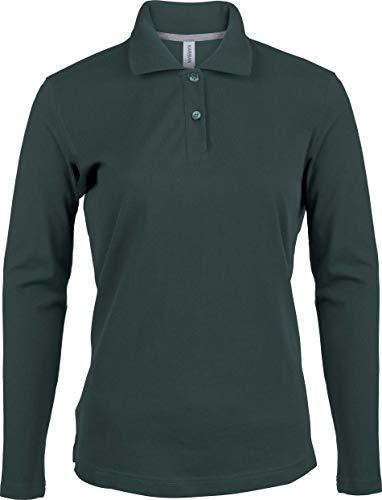 Kariban Damen Piqué Poloshirt Langarm - Forest Green, L, Damen