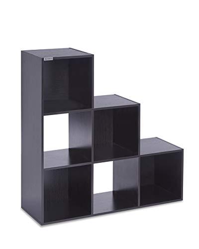 ts-ideen Stufenregal Design Regal Standregal Bücherregal CD-Regal Aufbewahrung Holz Schwarz 90 x 90 cm