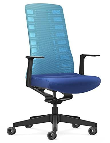 Interstuhl Silla de Oficina Pure Active Edition – Adaptación al Peso y al Movimiento – tecnología ergonómica Smart Spring (Azul Claro I Azul)
