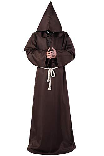 Zamtapary Disfraces de Hombres Trajes Sacerdote Mago Monje Medieval Cristiano Disfraces de Halloween Café XL