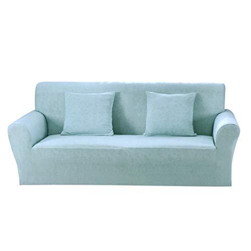 Garneck Bleu Housse de canapé Set canapé Housse élastique Deux sièges Lin Motif Protecteur de Meubles et taie d'oreiller Cadeau de noël pour canapé Chaise Meubles décor à la Maison (Bleu) 1 Set