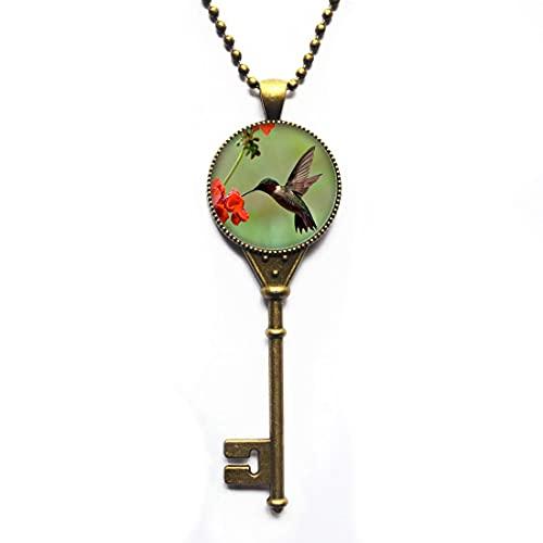 Collar con llave de colibrí, joyería de colibrí, colgante de pájaro, collar de llave de pájaro, collar de llave de animales, collar de llave de la naturaleza-JV246