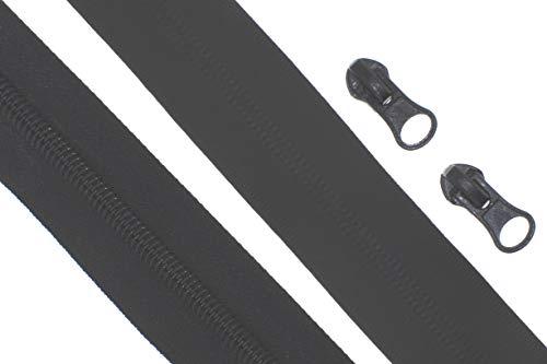 Endlos - Reißverschluss Reißverschlüsse meterware mit Zipper (Wasserdicht 7mm - schwarz/matt, 1 Meter + 2 Zipper)