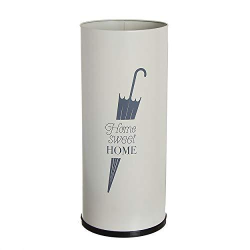 Hogar y Mas Paragüero de Metal Blanco Home Sweet Home. Paragueros Originales y Modernos 50x22 cm