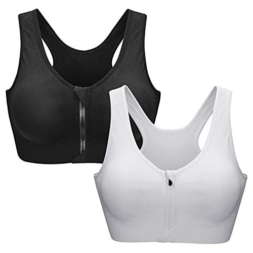 Zoerea Sports BH Damen Push Up Zip Front, 2er Pack Impact Yoga Bra, Gr.-M: Fit 75A 75B 75C 75D 80A 80B, Schwarz und Weiß