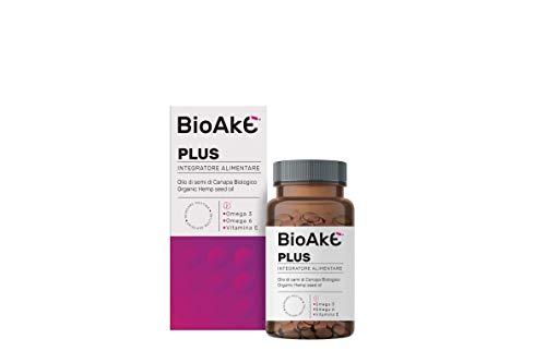 BioAke PLUS Integratore alimentare a base di olio di semi di canapa –migliora il trofismo della pelle e la funzionalità delle cellule. Antiossidante con Vitamina E. 90 Perle softgel da 500mg