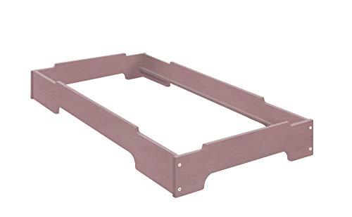 BioKinder 22822 Kai Stapelbett Stapelliege Kinderbett aus Massivholz Kiefer 70 x 140 cm Flieder lasiert