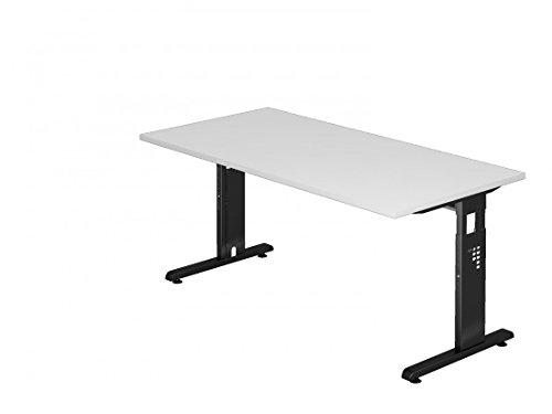 DR-Büro Schreibtisch 160 x 80 cm - Höhenverstellbar 65-85 cm - Bürotisch mit schwarzem Gestell - Kabelwanne - 7 Farben, Farbe:Weiss
