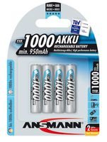 Ansmann Piles Réchargeables NiMH AAA/HR03 (Micro) Professional Type AAA 1000mAh (min. 950mAh) 4 Piles