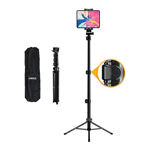 MECO Tablet Tripod Stand Height Adjustable Tablet Stand Foldable Indoor Outdoor Floor Stand for All 4.7'-12.9' Cellphone or Tablet, Also Work for Camera & Ring Light, Carrying Bag Included