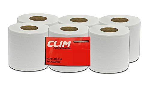 Pack de 6 rollos de papel secamanos tipo mecha 2 capas Clim Profesional®. Rollos de papel secamanos de 130 metros de papel extrablanco, suave y de doble capa laminado y precortado.
