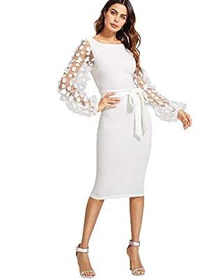 SheIn Women's Elegant Mesh Contrast Bishop Sleeve Bodycon Pencil Dress Medium White
