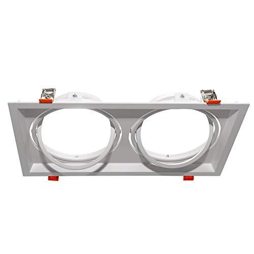 Portafaretto incasso rettangolare doppio diffusore orientabile lampade LED AR111