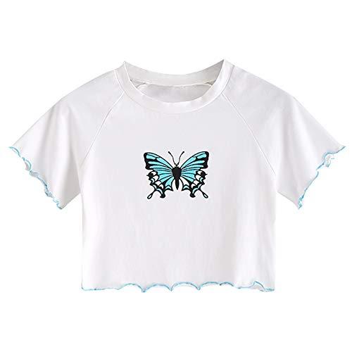 ZAFUL Women's Basic Crop Tops Butterfly Short Sleeve Scoop Neck T Shirt White-Butterfly S