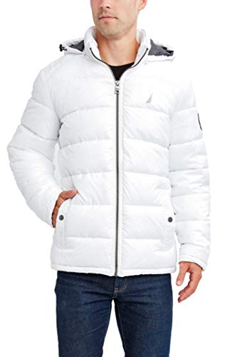 Nautica Men's Water Resistant Nylon Puffer Jacket, Bright White, XXL