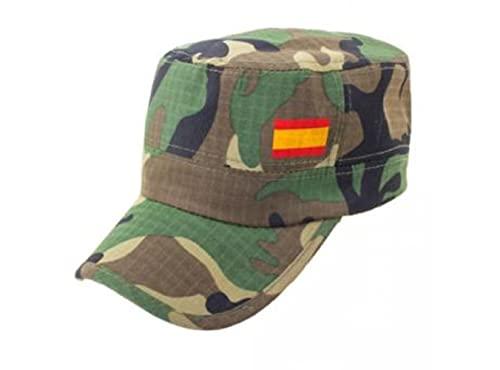 Gorra Camuflaje Bandera de España. Gorra Tipo Militar Marine para Caza con la Bandera de España