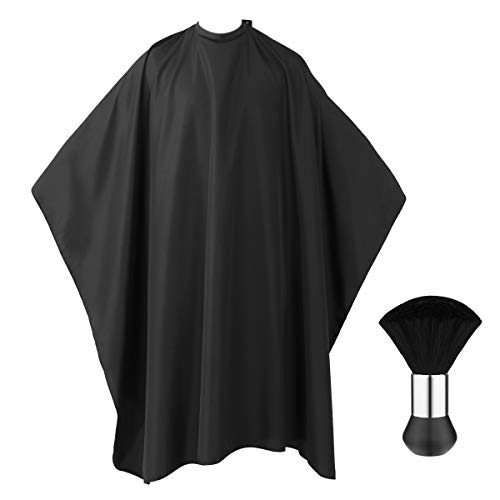 Frcolor Professional Barber Cape with Snap Closure, Hair Cutting Salon Cape Hairdressing Apron Black, Neck Duster Brush Included - 55' x 63'