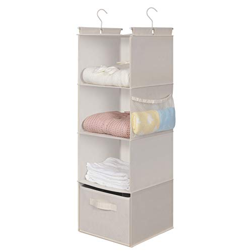 MAX Houser 4-Shelf Hanging Closet Organizer Space Saver Cloth Hanging Shelves with 2 Side Pockets Foldable Beige