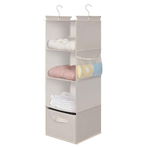 MAX Houser 4-Shelf Hanging Closet Organizer,Space Saver,Cloth Hanging Shelves with 2 Side Pockets,Foldable