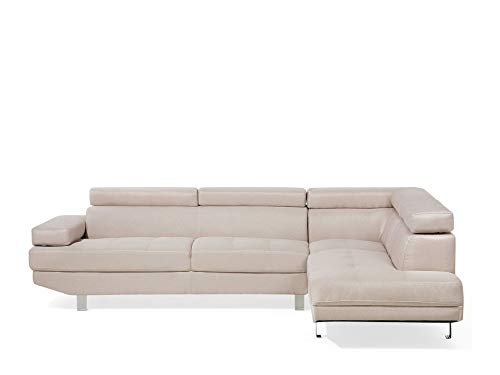 Beliani Ecksofa Designersofa Modern Polsterbezug beige Eckcouch Norrea