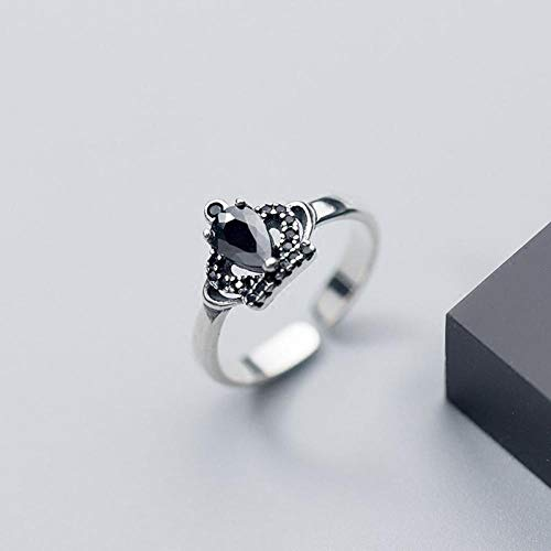 KHJH Open Adjustable Ring,925 Silver Fashion Black Rhinestone Princess Crown Shape Rings Jewelry Romantic Wedding Gift Dating For Couple Girl Lady