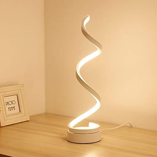 Osairous Lámpara de escritorio en espiral LED, lámpara de noche lámpara de mesa de acrílico con diseño contemporáneo Para dormitorio, estudio luz blanca, EU plug, 20W, 220V