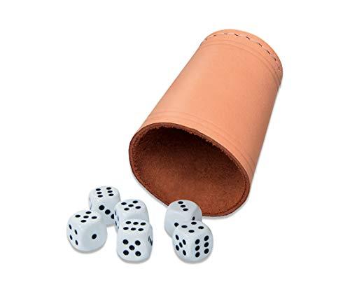 noris 606154318 Lederwürfelbecher mit 6 Würfeln, vielseitig einsetzbares Würfel-Set für Spieler ab 3 Jahren