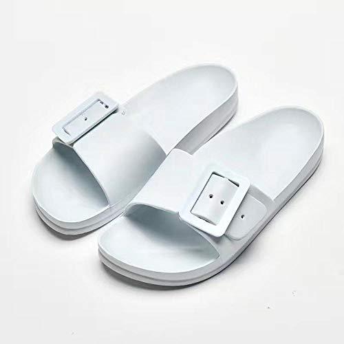 TDYSDYN Zapatos de Piscina Zapatos de Agua para baño,Zapatillas de casa Antideslizantes, Elegantes Chanclas para el baño.-Azul Claro_37