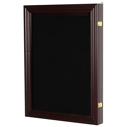 "HOMCOM 32"" x 24"" UV-Resistant Sports Jersey Frame Display Case - Cherry Brown"