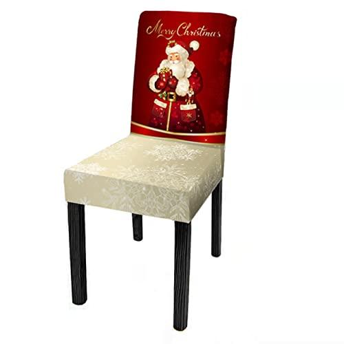 Oukeep Funda para Silla con Estampado Elástico Decoración del Día De Navidad Funda para Silla De Comedor Funda para Silla con Todo Incluido Funda para El Hogar del Hotel Decoración Y Disposición