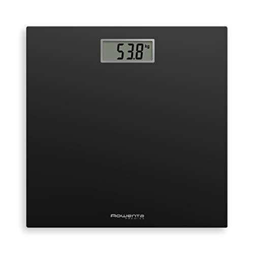 Rowenta BS1400 Premiss, bilancia pesapersone elettronica, fino a 150 Kg, spessore 22 mm, 65x28, vetro temperato, Nero