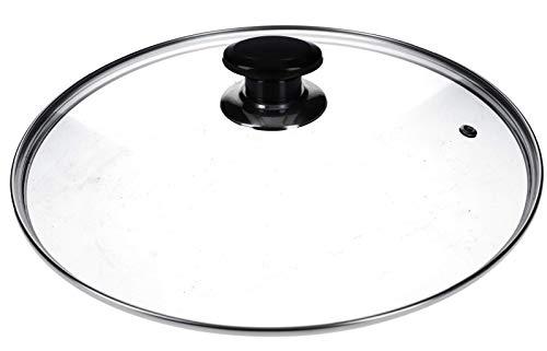 DL-pro Tapa de cristal de 300 mm de diámetro universal con asa y borde protector de acero inoxidable para ollas y sartenes