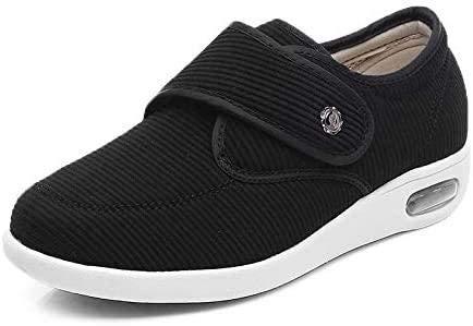 XRDSHY Zapatos para Diabéticos Zapatos Extra Anchos para Hombres Artritis Edema Ancianos Zapatos para Caminar Al Aire Libre En Interiores Cierre Ajustable,Black-EU40/250mm