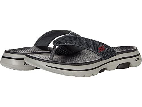 Skechers Men's Gowalk 5-Performance Walking Flip-Flop Sandal, Charcoal/Red, 12 M US