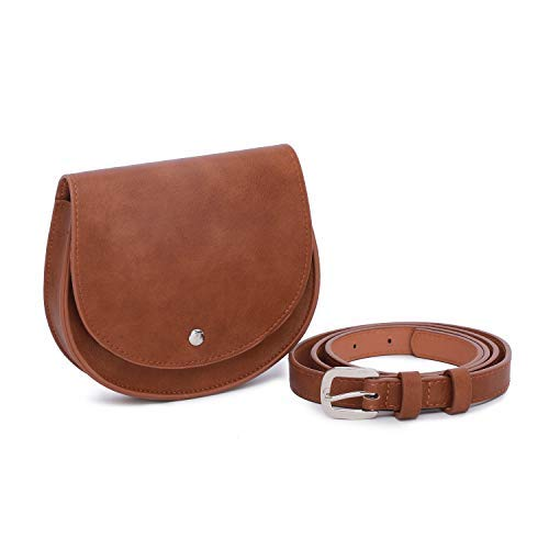 GLITZALL Fanny Pack Waist Pack Pouch for Women Small Purse Leather Belt Fanny Bag With Removable Belt