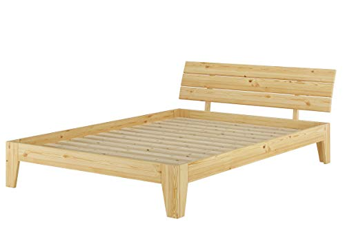 Erst-Holz® Doppelbett Überlänge 160x220 Futonbett Massivholz Kieferbett Natur mit Rollrost 60.62-16-220