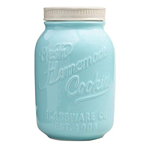 Best Prices! World Market Blue Ceramic Mason Cookie Jar - Keep Your Cookies and Baked Goods Fresh wi...