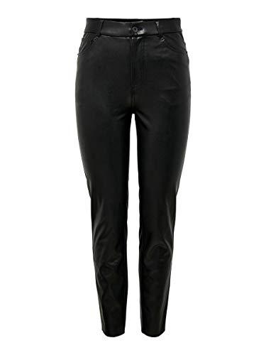 Only ONLEMILY HW ST Ank Faux Leather Pnt Noos Pantaloni, Black, XL/30 Donna