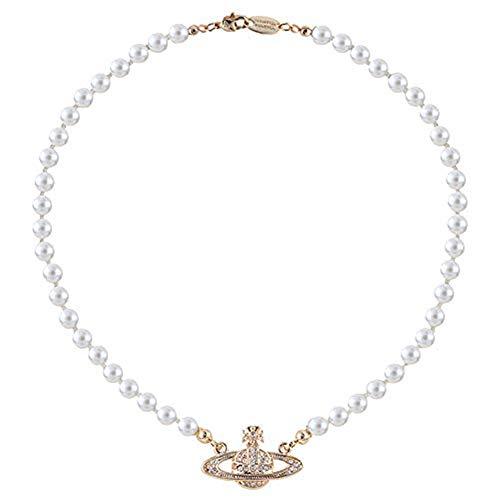 ALSEN Damen Halsketten Diamant Saturn Perlenkette Volle Diamant Planet Schlüsselbein Kette Verstellbare Kette Halskette Für Frauen Geschenk für Freundin Mama Geburtstag Ideen (gold)