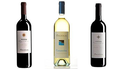 3 Flaschen Wein Argiolas Sardinien cl.75 (Vermentino Costamolino DOC - Monica Perdera DOC - Cannonau Costera DOC)