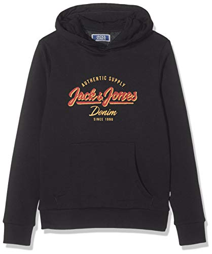 JACK & JONES Jungen JJELOGO Sweat Hood 2 COL NOOS JR Kapuzenpullover, Schwarz (Black Black), (Herstellergröße: 152)
