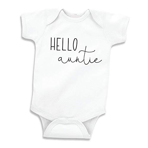 Bump and Beyond Designs Hello Auntie Shirt Surprise Pregnancy Announcement Gift to Aunt (White 0-3 Months)