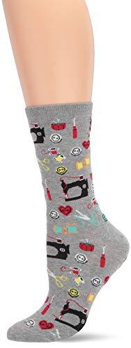 Hot Sox Women's Conversation Starter Novelty Casual Crew Socks, Sewing Supplies (Sweatshirt Grey Heather), Shoe Size: 4-10